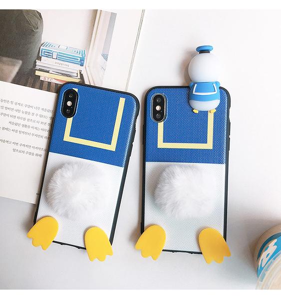 三星S20 Ultra立體唐老鴨毛絨球矽膠手機殼 SamSung S20卡通手機套 三星S20手機保護殼Galaxy S20+保護套