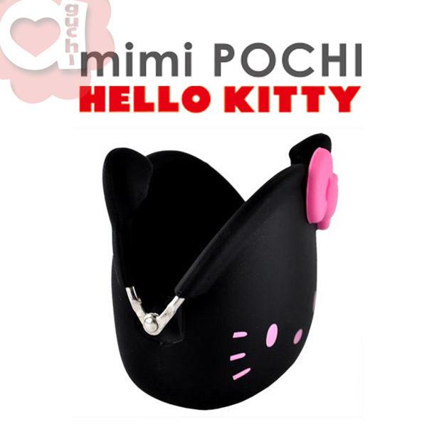 日本進口 p+g design mimi POCHI X HELLO KITTY 貓臉造型矽膠零錢包 - 經典黑