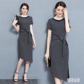 大尺碼洋裝 夏裝新款修身顯瘦包臀時尚條紋連身裙女氣質OL中長款 mj12875『男神港灣』