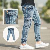 縮口褲 立體刷色口袋三角皮標縮口牛仔褲【NB0308J】
