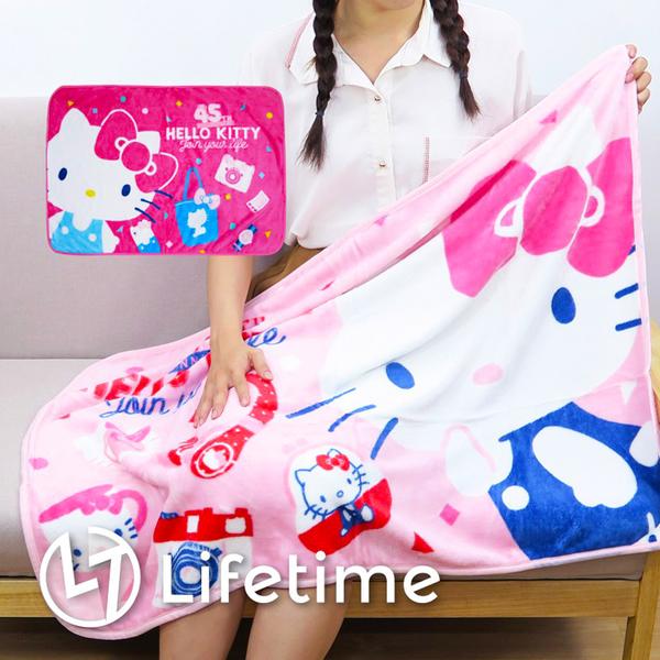 ﹝Kitty45週年法蘭絨毯﹞正版冷氣毯 小毯子 刷毛毯 凱蒂貓〖LifeTime一生流行館〗B16777