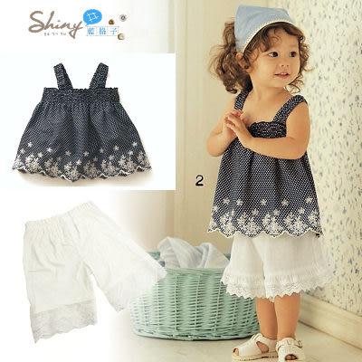 【TZ410】shiny藍格子-女童寶寶繡花背心吊帶+花邊中褲二件套裝