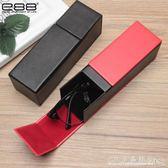 手工眼鏡盒鏡盒紅黑色方形PU皮質墨鏡防摔抗壓便攜眼睛盒『CR水晶鞋坊』