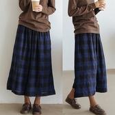 復古黑藍格子寬管雙層百搭休閒褲裙/設計家 Q91037