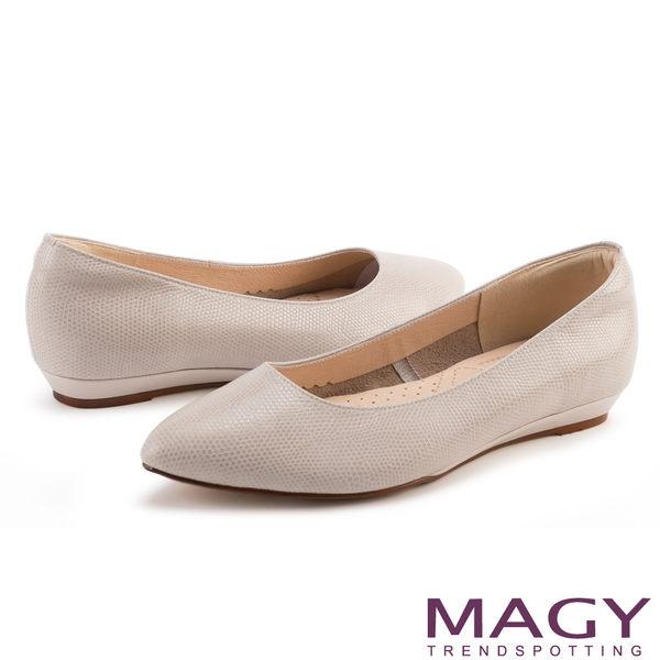 MAGY 清新氣質款 親膚舒適尖頭平底鞋-灰色
