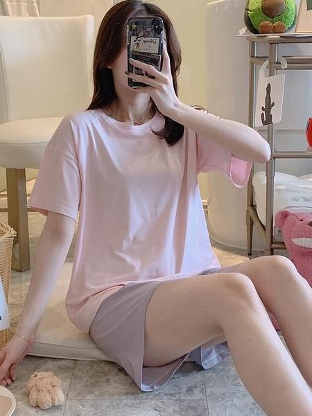 短袖居家服 純棉睡衣女夏季純色韓版短袖簡約兩件套裝寬松家居服夏薄款可外穿 夢藝家