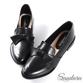 小皮鞋 日系可愛蝶結尖頭低跟鞋-黑