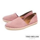 Tino Bellini 西班牙進口側鏤空平底麻編休閒鞋 _ 粉 B83214A 歐洲進口款