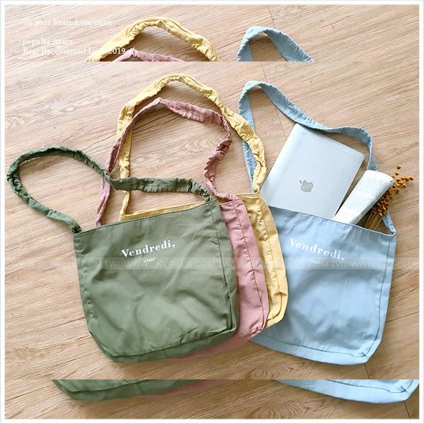 肩背包-美式休閒字母側背/斜背袋-共5色-A15152379-天藍小舖