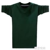 長袖純棉T恤圓領胖子男裝純色加肥加大碼潮裝特大號肥佬打底衫潮T 創意新品