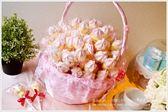 幸福朵朵【義大利冰淇淋造型大棉花糖x100支+大提籃x1個】二次進場/送客喜糖/生日/畢業/來店禮