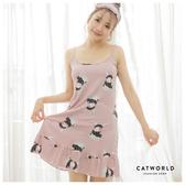 Catworld 童話小兔。居家細肩魚尾BRA睡衣洋裝(附眼罩)【18808060】‧M-2XL