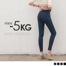 《BA5219》3D立體塑型視覺修身牛仔風-5KG抓破窄管褲--適 2L~6L OrangeBear