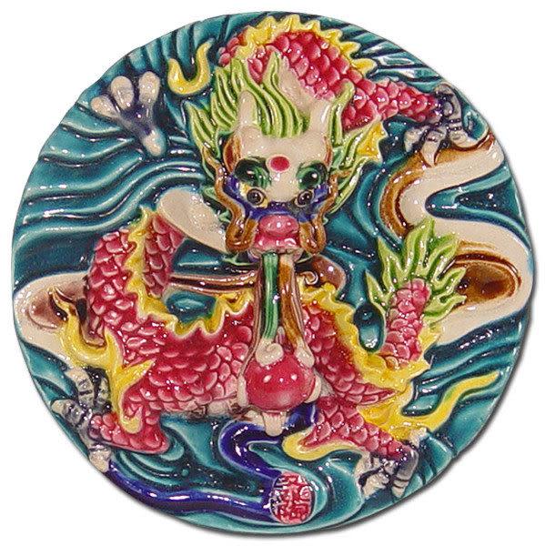 居家開運商品-台灣國寶交趾陶裝飾壁飾-正方立體框【祥龍獻瑞】附精美包裝◆免運費送到家