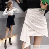 短裙 秋裝2020年新款女高腰網紅不規則黑色收腰a字裙顯瘦褶皺包臀短裙-完美