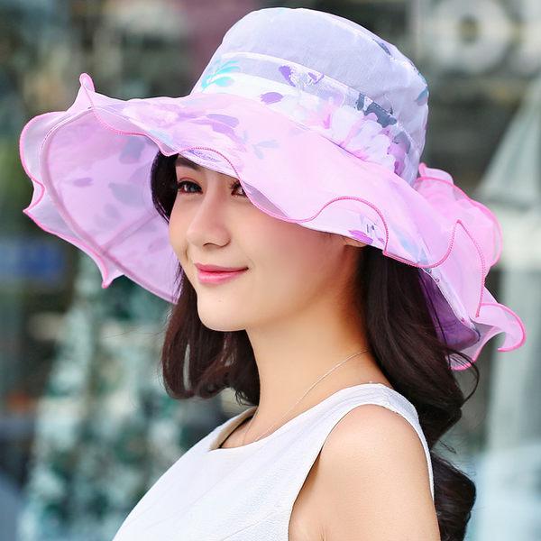 防曬帽子女大沿涼帽可折疊遮陽帽沙灘太陽帽春夏防紫外線蕾絲布帽