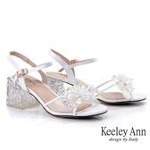 Keeley Ann耀眼奪目 唯美透明女神鑽飾方根涼鞋(白色) -Ann系列