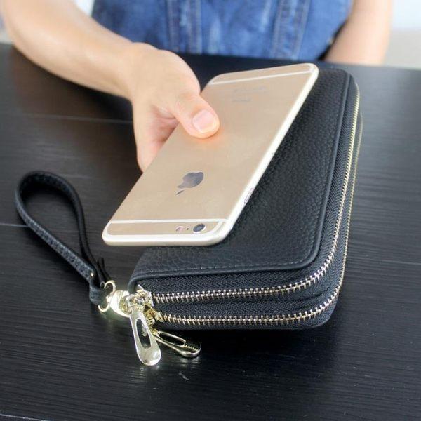 新款荔枝紋女士錢包韓版長款雙拉錬包男式手拿包手機包皮夾 享購