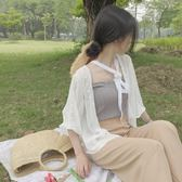 韓版chic氣質百搭寬鬆七分袖刺繡雪紡衫女防曬開衫小外套艾維朵