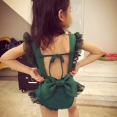 女童後背蝴蝶結泳衣 女孩親子性感露背裝 小中大童正韓女童連身遊泳衣
