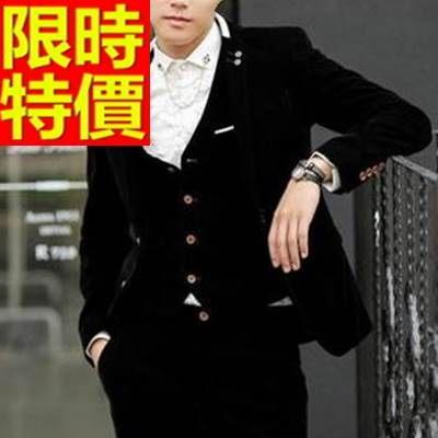 韓版 西裝外套 男西服 簡單精緻-商務紳士風典型金絲絨65b19[巴黎精品]