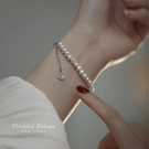 純銀福牌珍珠手鏈女夏ins小眾設計閨蜜首飾女生復古輕奢手飾品 錢夫人小舖
