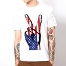 American peace fingers短袖T恤-白色 美國國旗和平手設計插畫潮流藝術