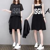 新款韓版孕婦雪紡洋裝洋氣孕婦裝夏天裙子夏裝上衣兩件套裝 艾瑞斯居家生活