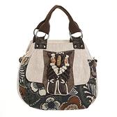 棉麻手提包-復古民族風花朵拼布女側背包73ws4【時尚巴黎】