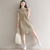 森女系洋裝 復古文藝森女系棉麻風寬鬆大碼休閒中長款立領半開衫大口袋連身裙-Ballet朵朵