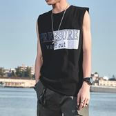 新款無袖t恤男潮流寬鬆籃球圓領個性bf潮牌嘻哈汗衫坎肩純棉背心   圖拉斯3C百貨