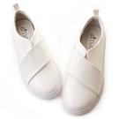amai韓式個性素面寬帶休閒鞋 白