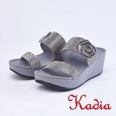 kadia.閃耀花朵滿鑽寬版厚底拖鞋(9106-88灰色)