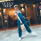 Queen Shop【04050621】深藍寬版牛仔吊帶褲 S/M/L/XL*現+預*