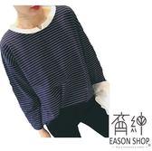 EASON SHOP GW2194  簡約撞色橫條紋薄款短版圓領小V 領剪裁長袖T 恤女上衣服落肩寬鬆內搭衫棉T 恤