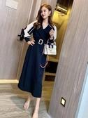 降價兩天 黑色開叉連衣裙女 2020早秋新款洋裝 法式復古雪紡拼接設計感小眾裙