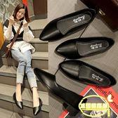 新款舒適單鞋女休閑平底尖頭小皮鞋女網紅通勤工作鞋女鞋