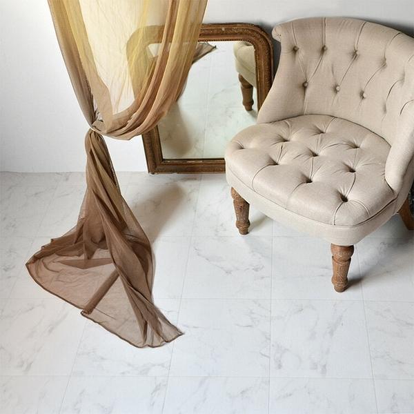 1米起訂 白色大理石紋 地板卷材 客廳 日本地板材/HM-10108
