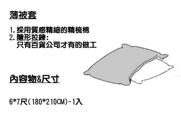 單品--素色雙色-極簡風(深藍+水藍)、100%精梳、純棉、台灣製【6X7冬薄被套】單品