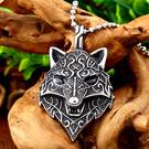 《QBOX 》FASHION 飾品【CBP8-354】精緻個性復古北歐狼頭圖騰鑄造鈦鋼墬子項鍊/掛飾