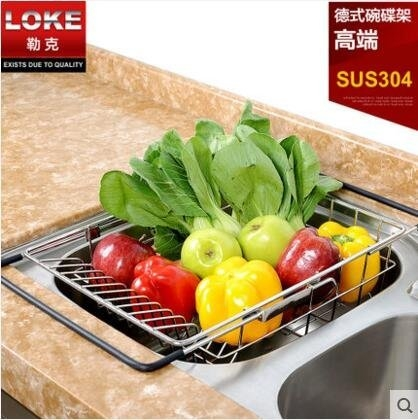 LOKE 304不銹鋼水槽架廚房洗菜盆瀝水籃碗架晾置碗盤碗筷瀝水架