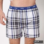【JEEP】五片式剪裁 純棉平口褲 (咖啡紫格紋)