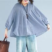 日系 寬鬆感格子V領娃娃裝上衣-中大尺碼 獨具衣格