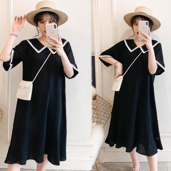 L-4XL胖妹妹大碼洋裝連身裙~大碼寬松純色短袖套頭連身裙3F061A衣時尚