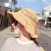 出游防曬太陽草帽折疊大檐沙灘帽子遮陽帽蝴蝶結韓版女潮百搭「尚美潮流閣」