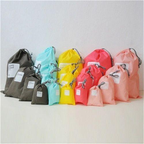 旅行簡約抽繩束口袋 (四件套) 便攜糖果色收納袋 整理袋