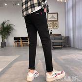 牛仔褲男黑色男士修身小腳褲男潮流百搭學生長褲子 水晶鞋坊