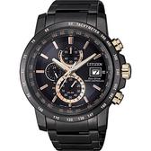 廣告款 CITIZEN星辰 光動能萬年曆電波錶-黑x玫瑰金時標/43mm AT8127-85F