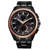 CITIZEN  時尚玫瑰金鈦金屬三眼男腕錶