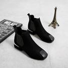 ★鉅惠黑色粗跟切爾西靴加絨棉鞋復古馬丁靴...